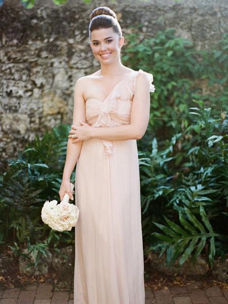 5ce3e7641c4e Flounced One-shoulder Chiffon Long Bridesmaid Dress zoom Zoom image ...