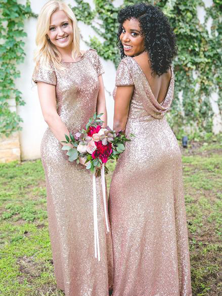 Bags Dresses Rose Gold Sequin Bridesmaid Dress